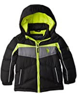 U.S. Polo Association Little Boys' Puffer V Striped Jacket with Hood