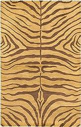 eCarpetGallery Handmade Trek 5-Feet 0-Inch by 8-Feet 0-Inch Wool Rug, Dark Brown, Light Brown