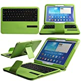 Boriyuan Ultra Portable Removable Detachable Wireless Bluetooth ABS Keyboard Carrying Case Flip Folding Protective PU Leather Cover with Viewing Stand Holder Function Universal for Samsung Galaxy Tab 3 10.1 Inch P5200 P5210 P5213 and Samsung Galaxy Tab 4 10.1 Inch T530 T531 Tablet with Free Screen Protector and Touch Stylus Pen Green