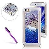 5C Case,LEECO iPhone 5C Case Glitter Flowing Liquid Floating Moving Hard Protective Cover Case for Apple iPhone 5C Polar Bear