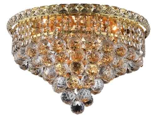 Elegant Lighting 2527F16G/Rc Tranquil 10-Inch High 6-Light Flush Mount, Gold Finish With Crystal (Clear) Royal Cut Rc Crystal front-682405