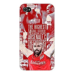 Jugaaduu Arsenal Therry Henry Back Cover Case For Apple iPhone 4S