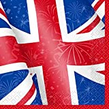 Lunch Napkins Pk Of 16 Patriotic Union Jack Party Decorations for British themed Celebration