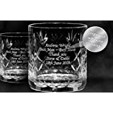 Pair Of Engraved Cut Crystal Whisky Tumblers
