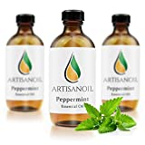 Artisanoil 100% Pure Premium-Quality Peppermint Essential Oil Natural Massage and Aromatherapy Oils, 4 Oz With Dropper