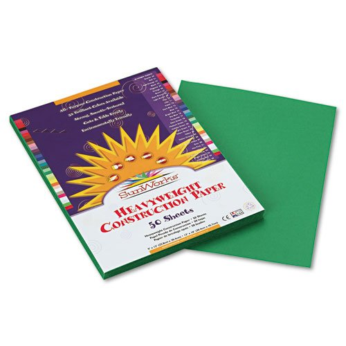 "SunWorks Construction paper, 9""X12"", Holiday Green, 50 Sheets - 1"