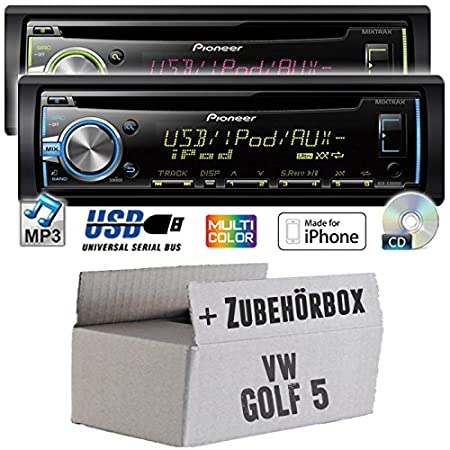 VW golf 5 v-pioneer dEH-x3800UI-cD/mP3/uSB avec kit de montage