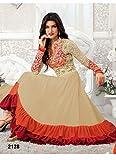 New Heavy Kriti Sanon Cream & Orange Long Length Designer Anarkali Suits- Free Size