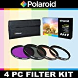 Polaroid Optics 4 Piece Filter Set (UV, CPL, FLD, WARMING) For The Canon VIXIA HF G10, G20, G30, S30, XA10, XA25, XA20, XF100, XF105, GL1, GL2 Camcorder