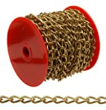 """Campbell 0719017 Hobby and Craft Twist Chain, Brass Plated, #90 Trade, 0.056"""" Diameter, 5 lbs Load Capacity, 82 Feet Mini Reel"""