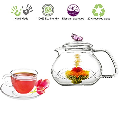 Teapot Cup Set Teapot Pink Butterfly with 2 Sets of Cup and Saucers (Butterfly Glass Teapot compare prices)