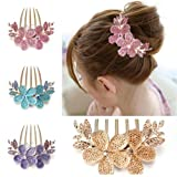 Charm Fashion Lady Girl Flower Pattern Alloy Rhinestone Barrette Hair Clip Comb Pink