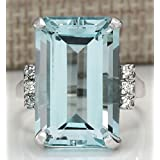 Sumanee Vintage Women 925 Silver Aquamarine Gemstone Ring Wedding Jewelry Size 6-10 (8) (Color: Aquamarine, Tamaño: 8)
