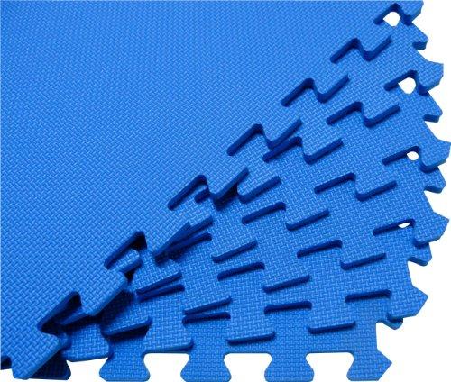 Cheap We Sell Mats 96 Square Feet (24 tiles + borders) 'We Sell Mats' Blue 2′ x 2′ x 3/8″ Anti-Fatigue Interlocking EVA Foam Exercise Gym Flooring (B003HE1B9K)