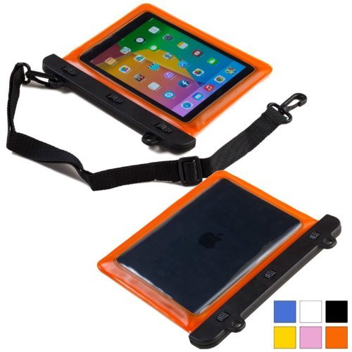 Cooper Cases(TM) Voda Prestigio MultiPad 8.0 Pro Duo / Thunder 7.0i Wasserdichte Tablethülle in Orange (Leicht, berührungsempfindliches Sichtfenster, verstellbarer Schultergurt)
