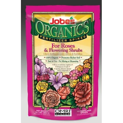 Jobes 4128 Organic Rose and Flowering Shrub Fertilizer Food Spikes, 10-Pack