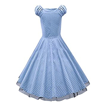 LECHEERS Women Polka Dot 1950's Vintage Swing Party Casual Dress