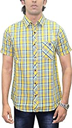 AA' Southbay Men's Yellow & Blue Twill Checks 100% Premium Cotton Half Sleeve Casual Shirt