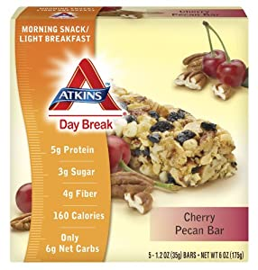 Atkins Day Break Cherry Pecan Bar, 5 Count, 1.2 ounce Bars