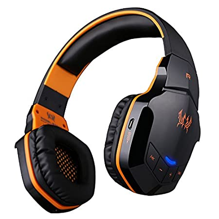 AFUNTA 2015 B3505 Wireless Bluetooth Stereo 3.5mm Plug + USB Plug Professional Lightweight Gaming Headphone Music Call Games Headset Support NFC with Mic Remarkable Sound for iPhone6/iPhone6 Plus iPhone 5 / 5s / 5c,S3 S4 S5, Ipad ,Lenono,Samsung ,Blackberry, HTC,Tablet - Black+Orange