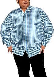 Xmex Men's Formal Shirt (KR-NEOECOCHEKSBLUE-WHITE_XXX-Large, Blue, XXX-Large)