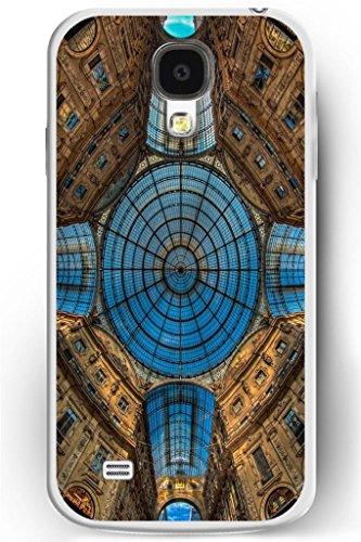 Sprawl Luxury Samsung Galaxy S4 Hard Case Ultra Slim Fit Religious Worshipper Shrine Design -- Blue Glass Church Ceiling