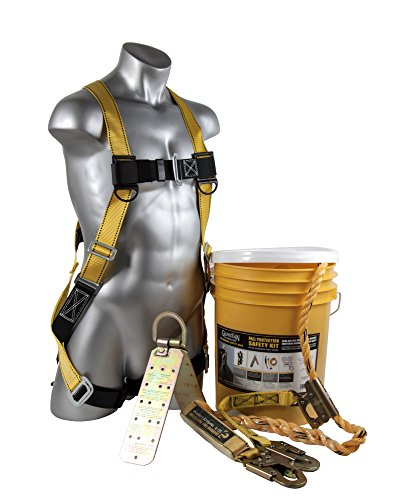 Guardian Fall Protection 00815 BOS-T50 Bucket of Safe-Tie with Temper Anchor, 50-Foot Vertical Lifeline Assembly and HUV (Roof Harness Kit compare prices)