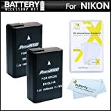 2 Pack Replacement EN-EL14a EN-EL14 Battery Kit For For Nikon D5300 D3300 D5100 D5200 D3100 Nikon Df and D3200...