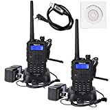 Retevis RT5 Dual Band 2 Way Radio 7W 136-174/400-520MHz FM Scan VOX Car Charging Function Ham Amateur Radio(Back,2 pack)with Programming Cable