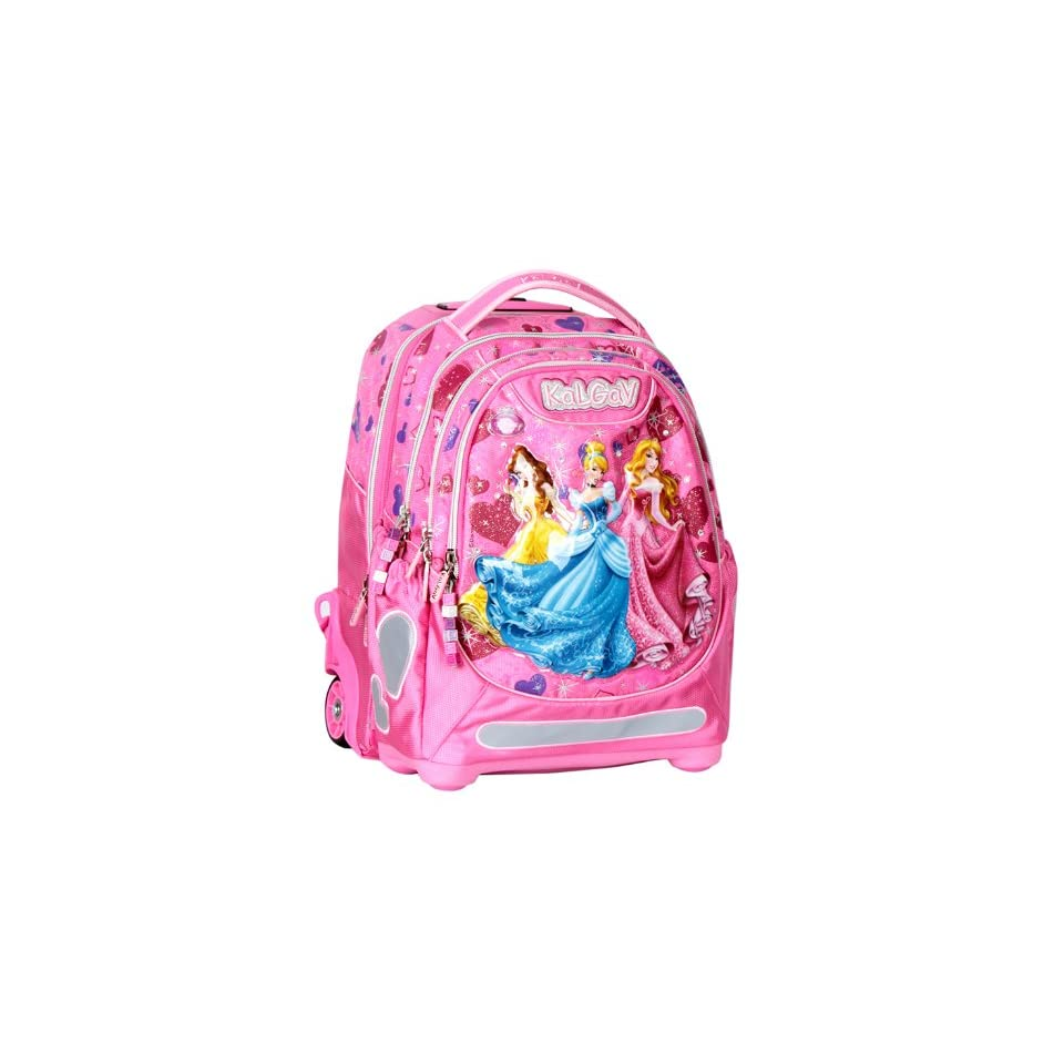 663a5434fd1 Disney 3 Princess Trolley Orthopedic School Bag Rolling Backpack Girls Pink  BNWT