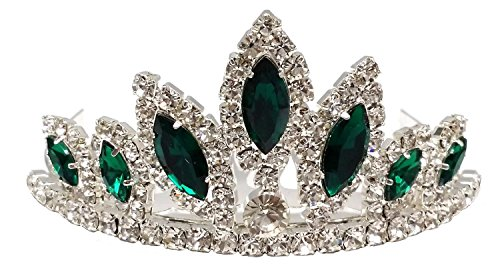 Girls Princess HALLOWEEN Costume Rhinestone Tiara Comb (Green)