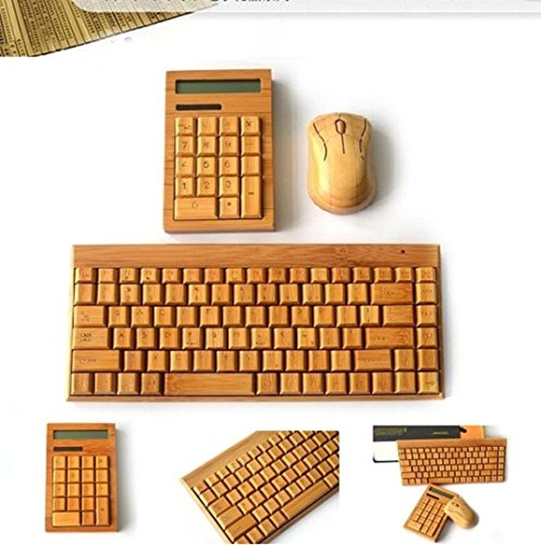 Smart Tech Small 88 keys Handcrafted Natural Bamboo Wooden PC Wireless 2.4GHz Keyboard and Mouse Combo + Free Smart Tech Touch Pen + Bamboo Calculator