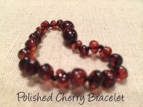 Baltic Amber Teething Bracelet for Babies and Toddlers Polished Cherry - 1