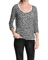 Esprit Mit Leomuster - T-shirt à manches longues - Col ras du cou - Manches longues - Femme
