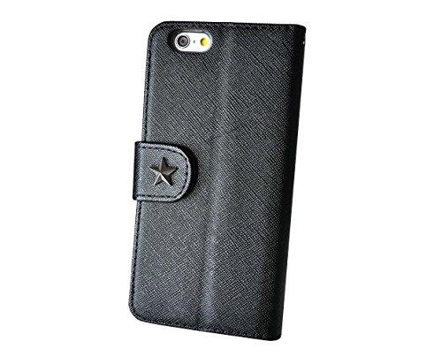 HighSociety - iPhone 手帳型 ケース - 大人お洒落なワンポイント - シンプル 機能美 カード収納 スタンド機能 ストラップホール 良質なPUレザー (iPhone6 4.7 インチ, ブラック x スタッズ)