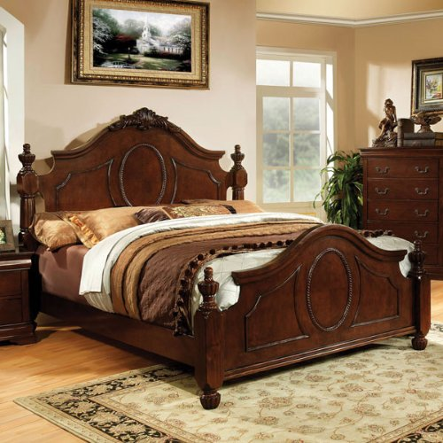 Queen Size Velda Cherry Finish English Style Bed Frame front-998564