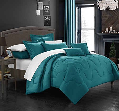 Chic Home 7 Piece Donna Bedding Basics Down Alternative Solid Comforter Set, Queen, Teal
