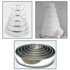 EURO TINS Moule a gâteau de mariage Rond à 6 étages - lot de 6