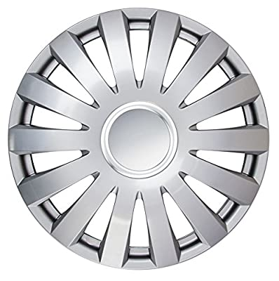 "14"" Set of 4 Hub Caps ""FONTANA"" silver color, beautiful design, easy installation, universal fit."