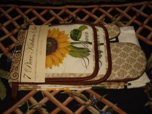 The Pecan Man SunFlower Everyday Kitchen Set of 7, 1 OVEN MITT & 2 Pot Holders & 2 Dish Cloths & 2 Kitchen Towels (Cow Pot Holders And Oven Mitts compare prices)