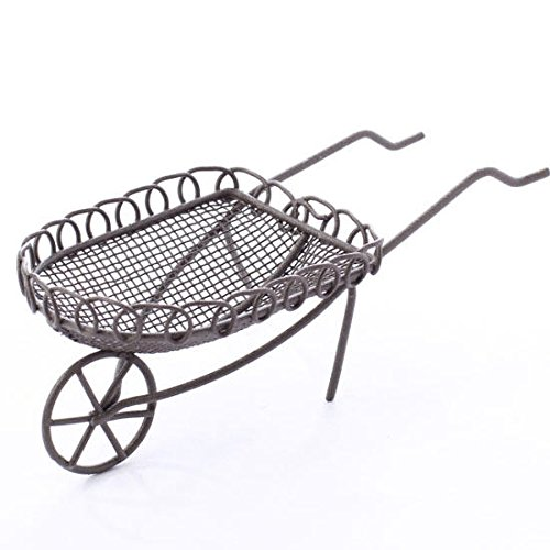 Sweet Scroll Edge Decorative Rustic Miniature Wheelbarrow for Fairy Gardens, Crafting and Displaying - 1