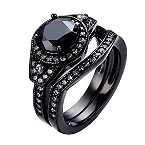 Bamos® Jewelry Womens Black Sapphire White Oval Diamond Black Gold Wedding Double Ring Sets Size 6