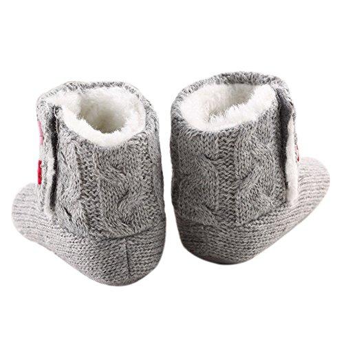 LIVEBOX Baby Cotton Knit Premium Soft Sole Anti-Slip Mid Calf Warm Winter Infant Prewalker Toddler Boots (M: 6~12 months)