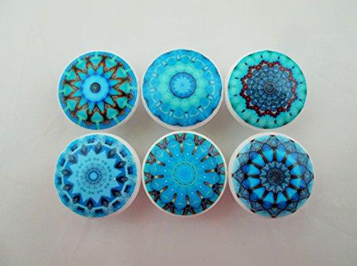 Set of 6 Chakra Mandala Cabinet Knobs (Aqua Blue) (Aqua Blue Knobs compare prices)