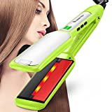 Natalie Styx Green Infrared Ceramic Titanium Flat Iron Styling Iron-1.5 Inch Plate straightener Digital LCD display and US Plug with Heat Protective Glove,Travel Size Pouch and 2 Clips Gift for mother