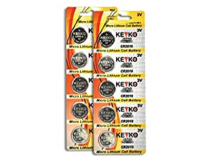 CR2016 3V Micro Lithium Coin Lithium Cell Battery 2016. Genuine KEYKO ® - 10 pcs Pack (2 Blisters) by Keyko Technologies LLC