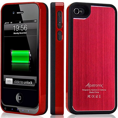 Alpatronix Mfi Apple Certified Bx100 1900Mah Iphone 4/4S Battery Charging Case (Ultra Slim Removable Extended Battery, Fits All Models Of Apple Iphone 4/4S - Retail Packaging) - Aluminum Red/Black
