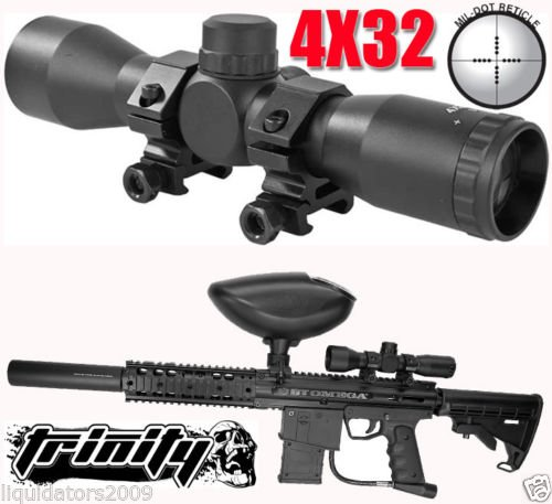 Trinity Supply 4X32 Rifle Scope For Paintball Guns, Paintball Gun Scope, Paintball Gun Sight, Bt Omega Paintball Gun Scope, Bt Paintball Gun Scope, Tippmann Gun Scope, , Tippmann Paintball, Bt Paintball, Rap4 Paintball, Woodsball, Tactical Paintball,Tippm
