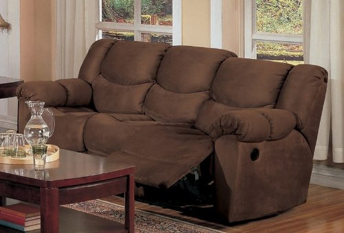 Nice Double Reclining Sofa In Chocolate Microfiber   Coaster