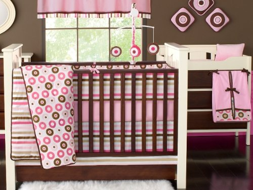 Mod Dots/Strps Pink 6pc Crib Set